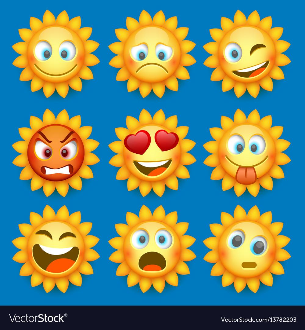 Emoji sun and sad icon set