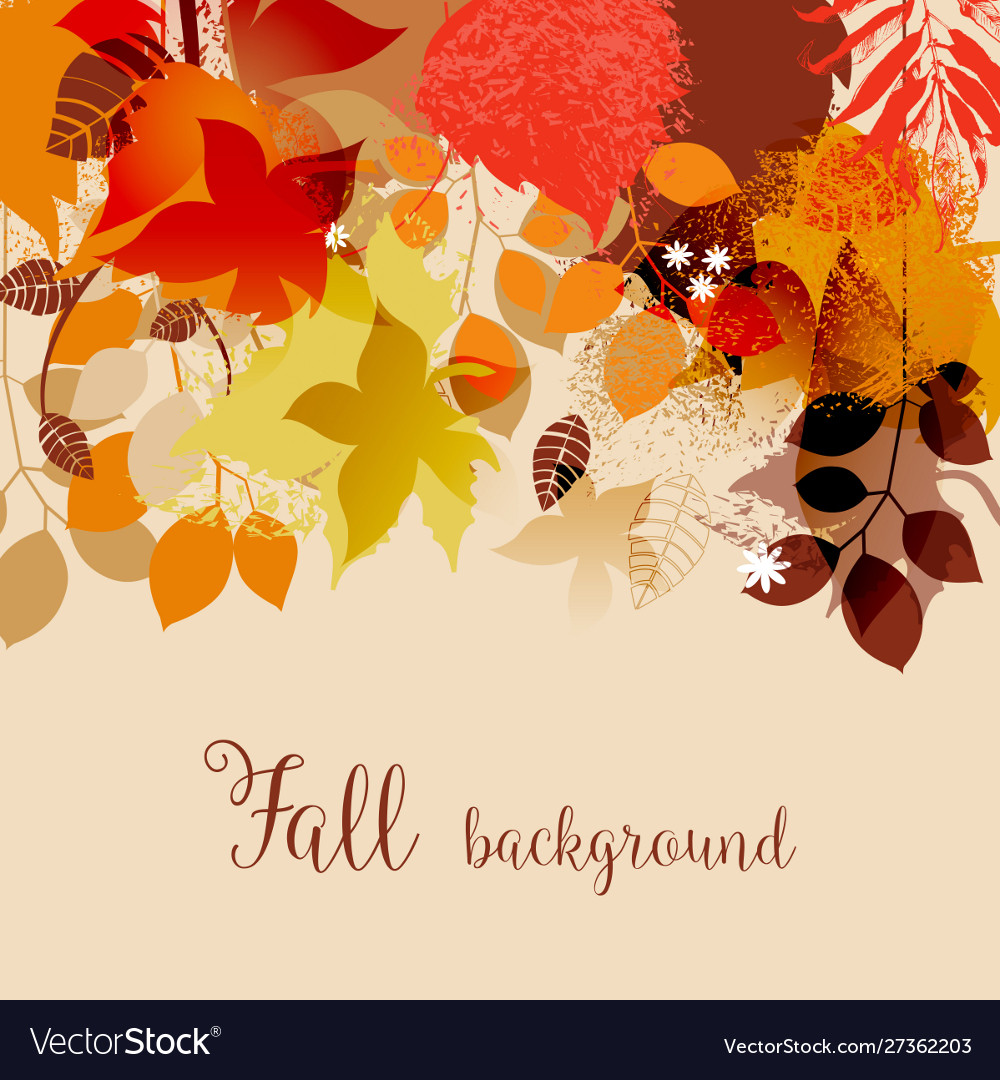 Fall leaves in bright autumnal colors background