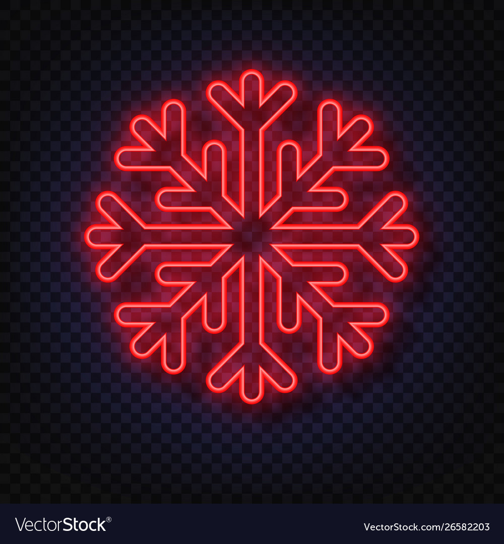Neon snowflake isolated on transparent background