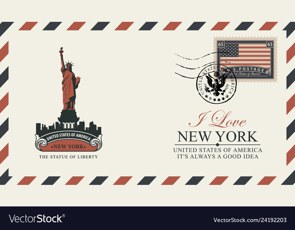 Postcard with new york statue liberty