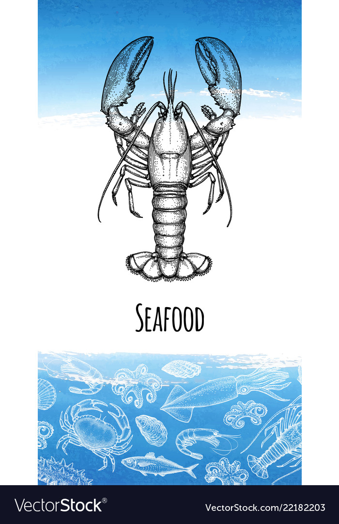 Seafood menu design template