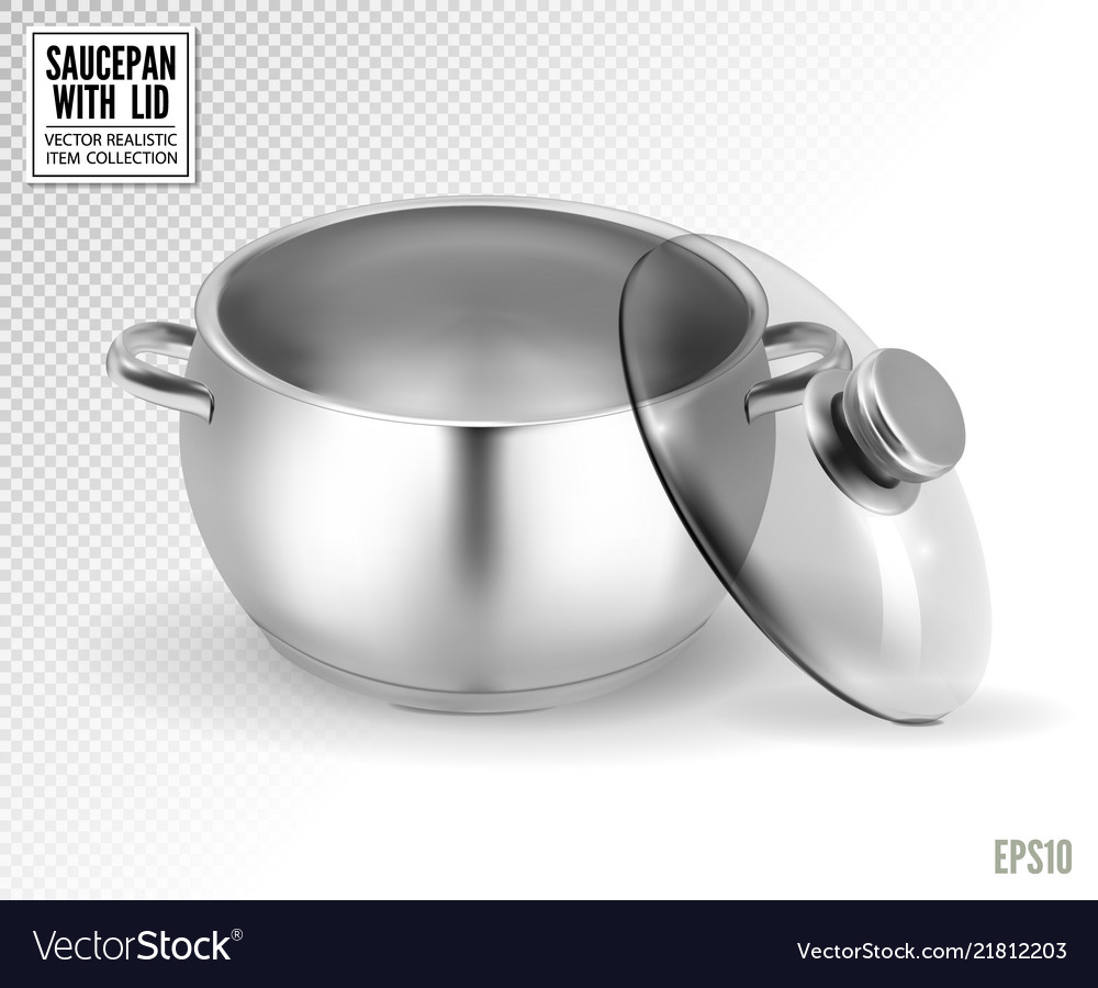Steel saucepan with glass lid on a transparent