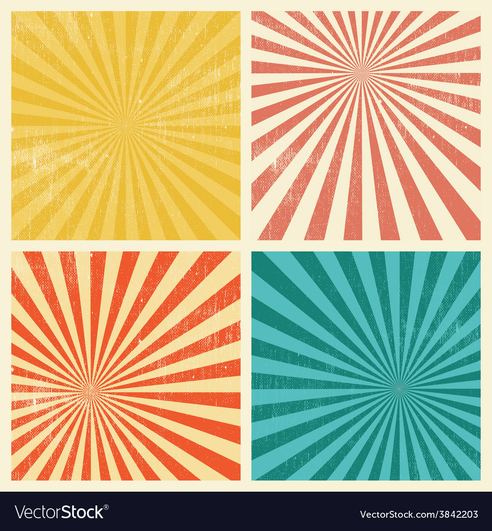 Sunburst Retro Textured Grunge Background Set