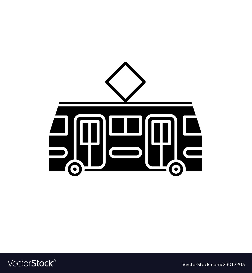 Tramway black icon sign on isolated