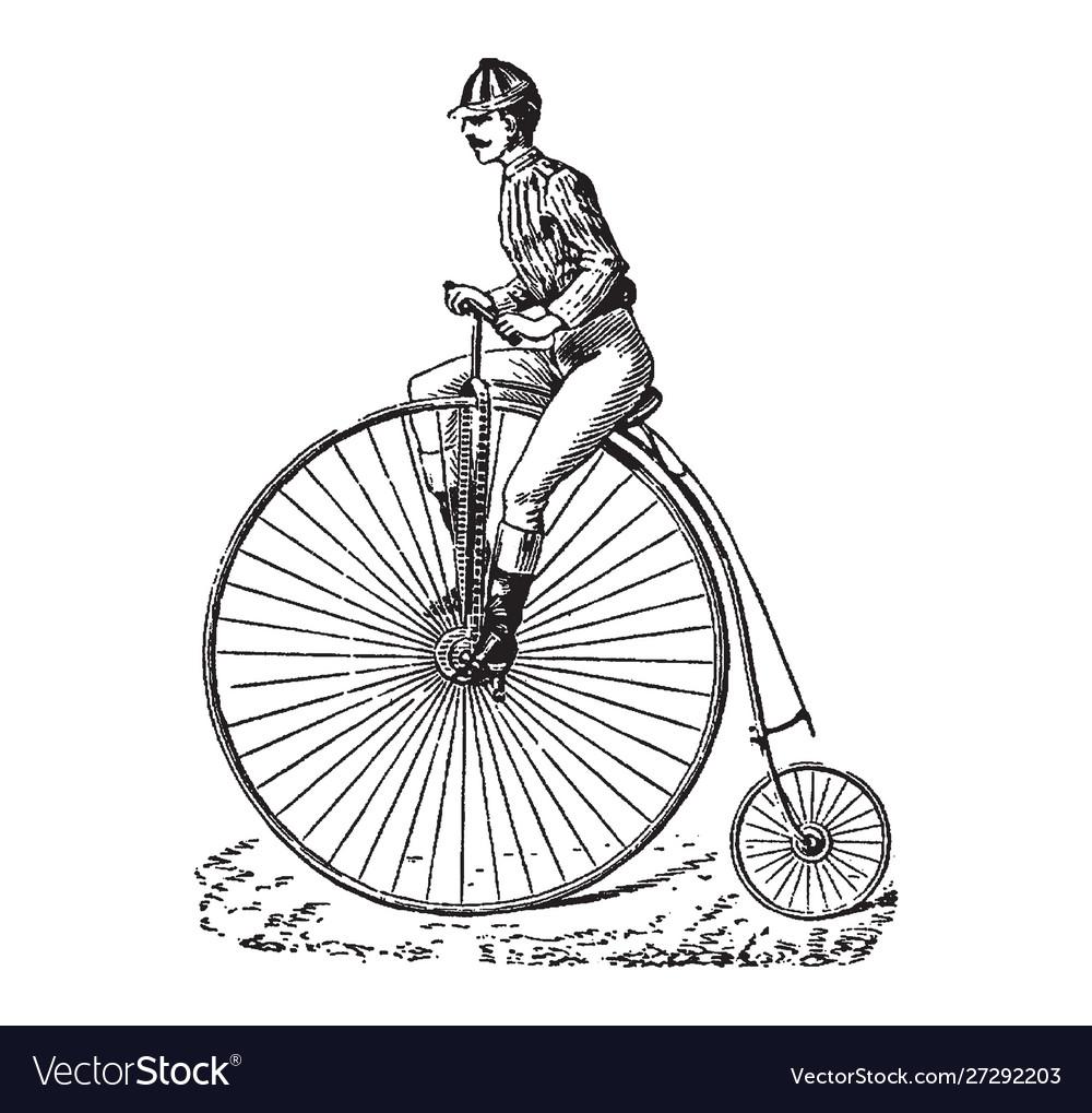 Vintage engraving a man riding a bike