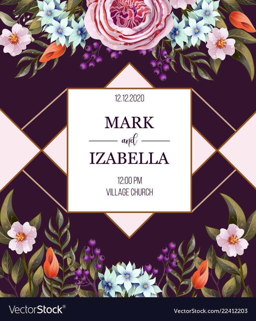Wedding invitation with english roses