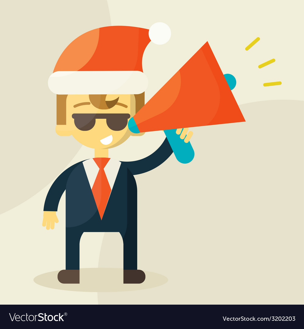 Young businessman with a megaphone and Christmas