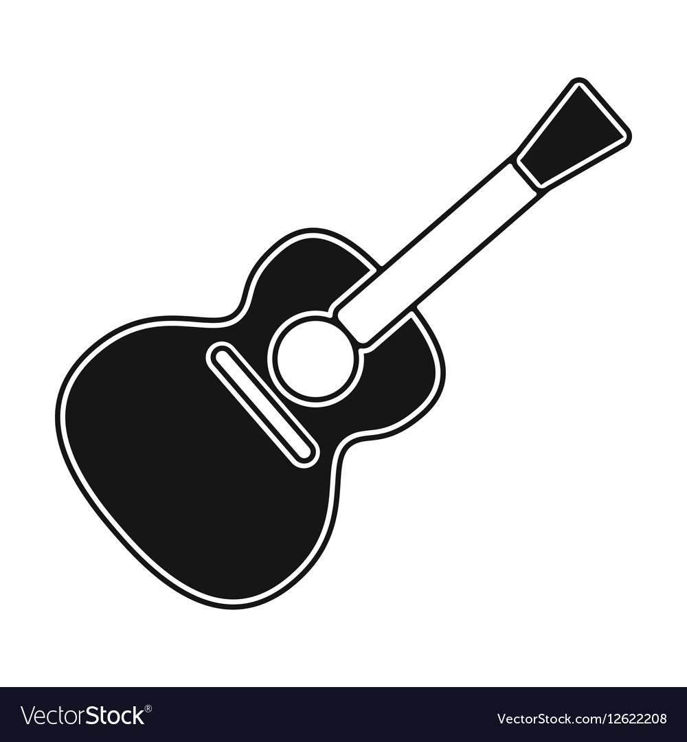 Acoustic guitar icon in black style isolated on