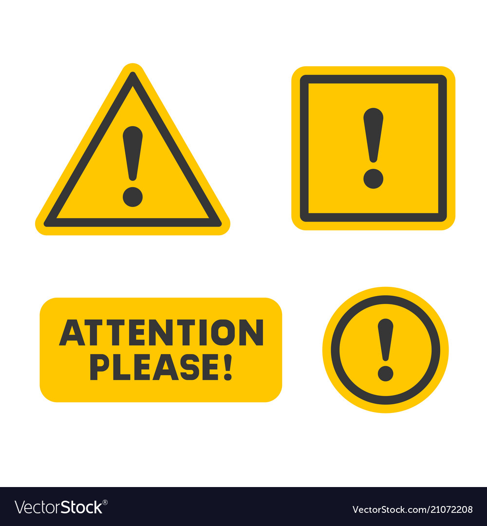 Attention sign set on white background