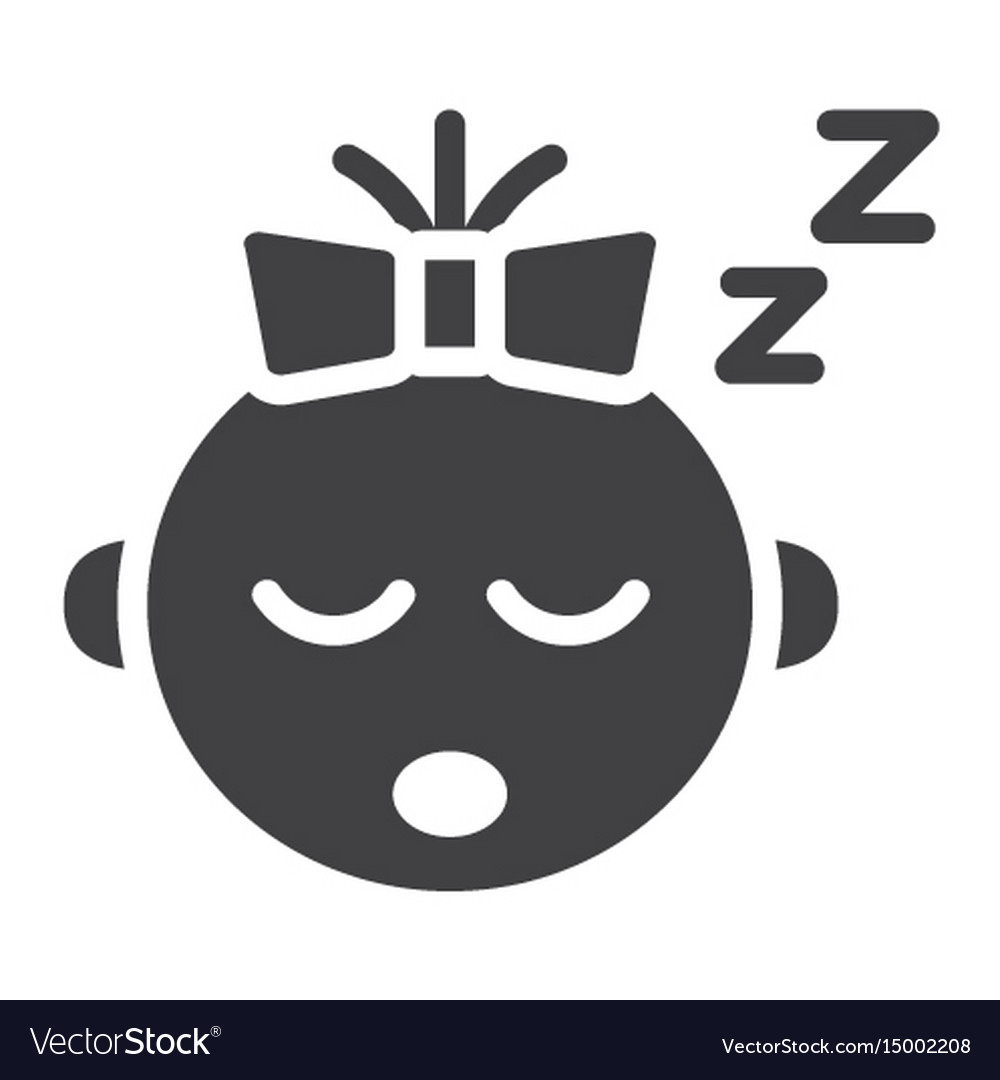 Baby girl sleep solid icon child and infant