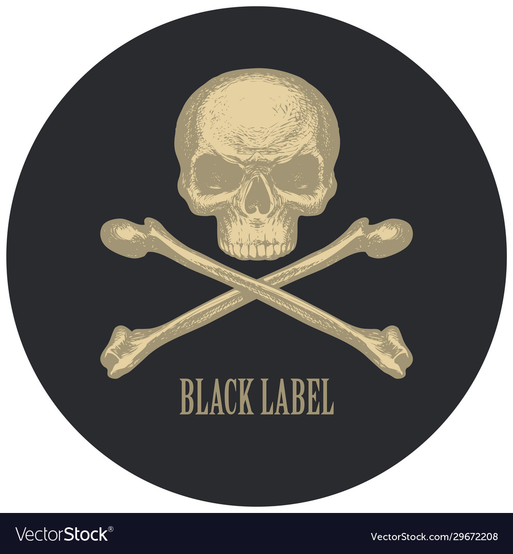 Black label with human skull and crossbones