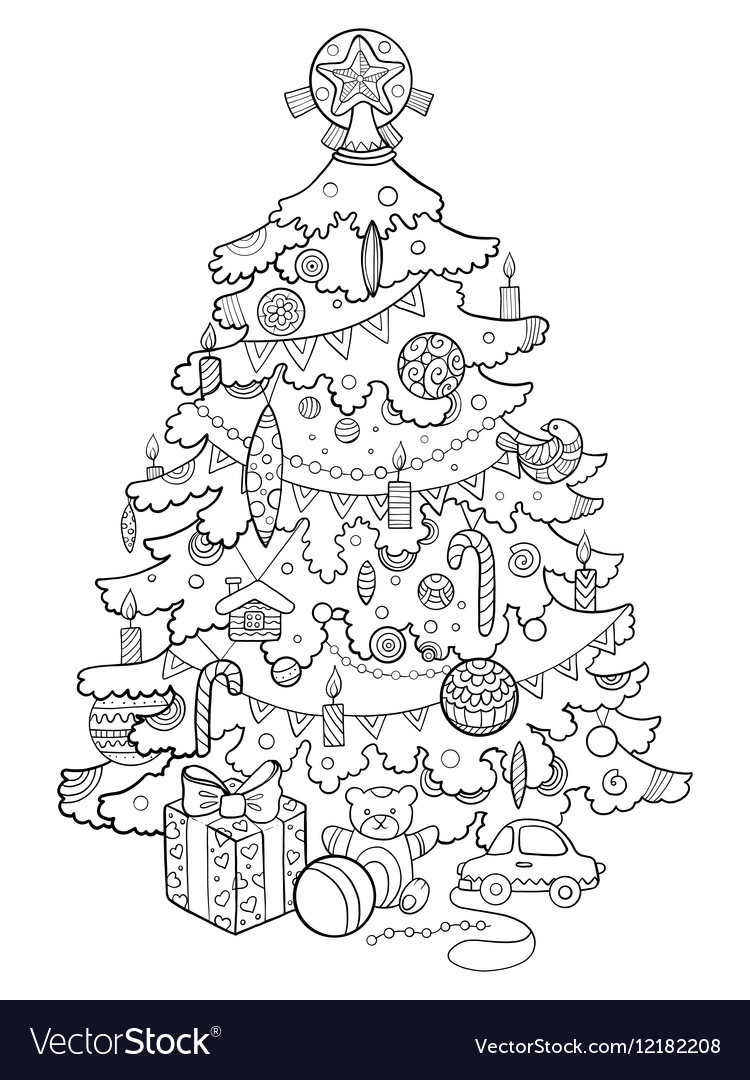 - Christmas Tree Cartoon Coloring Book Royalty Free Vector