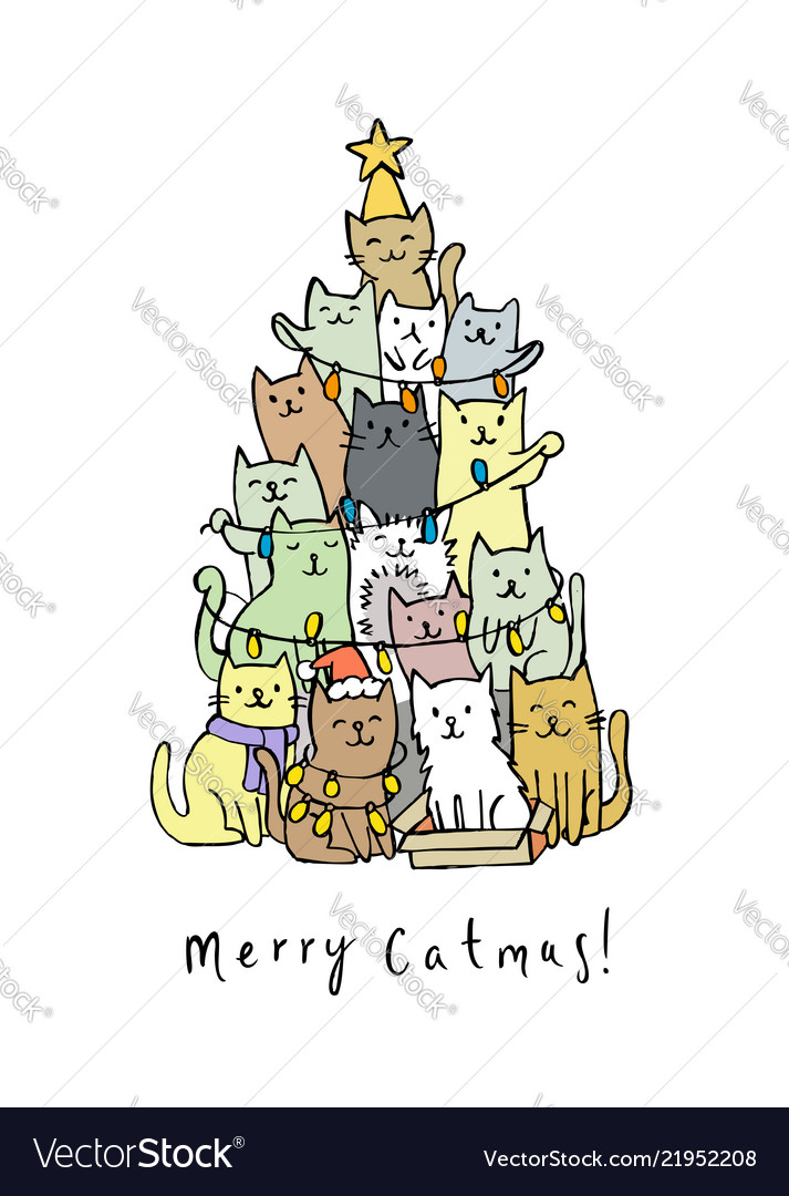 Christmas tree with cats