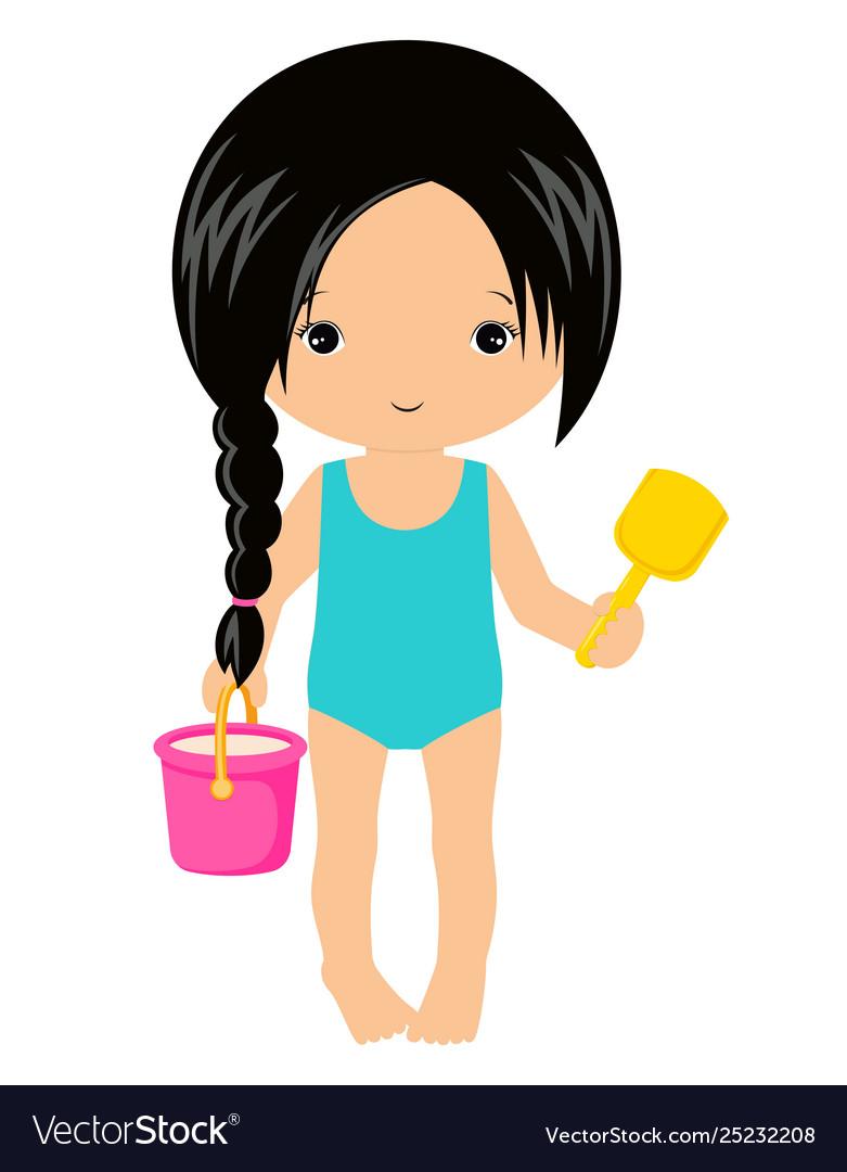 Cute little girl with bucket sand