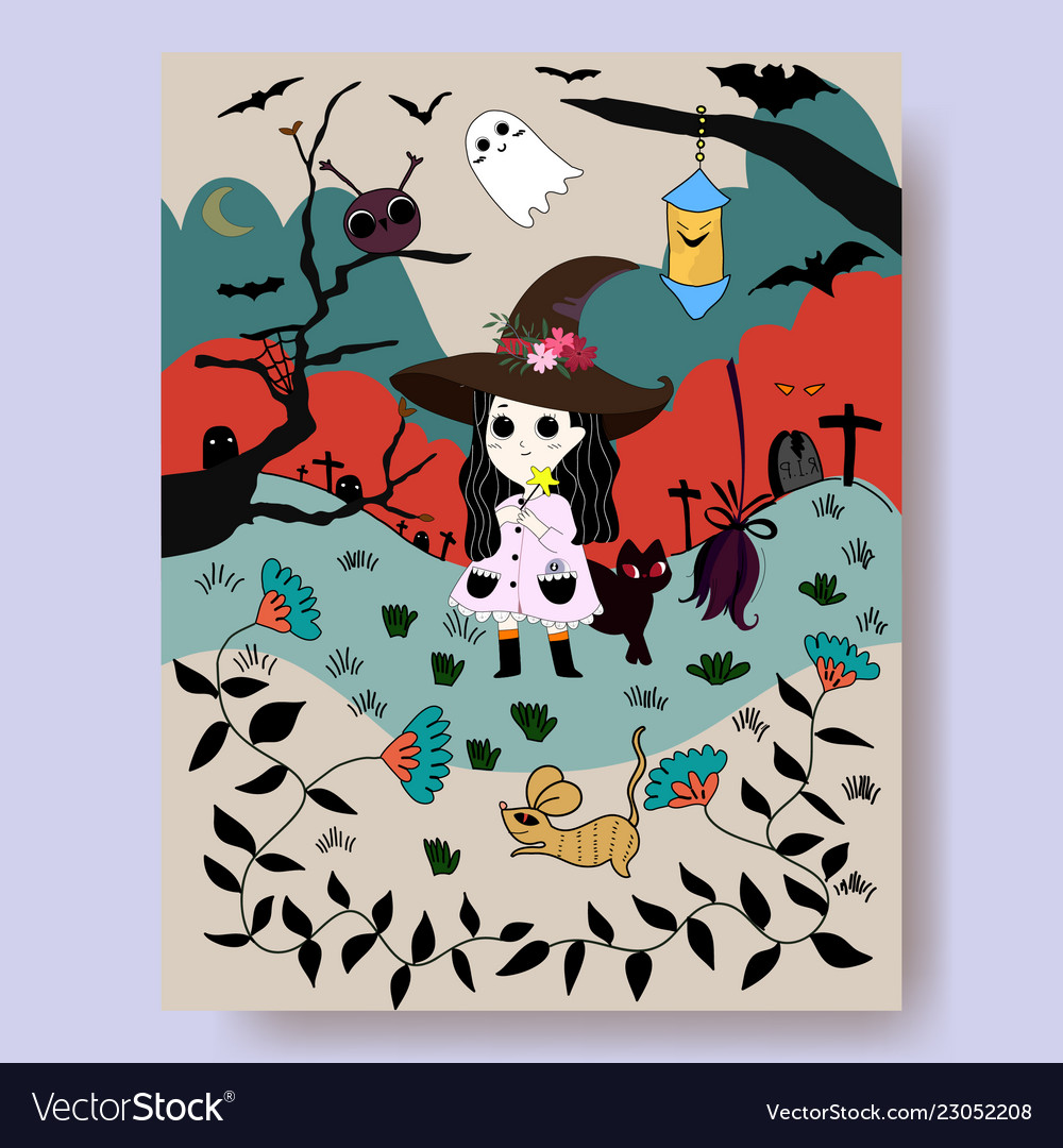 Cute witch cartoon and halloween night