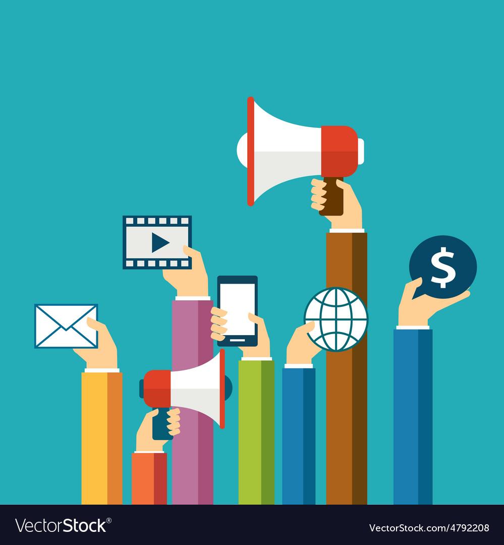 Digital marketing concept flat design Royalty Free Vector