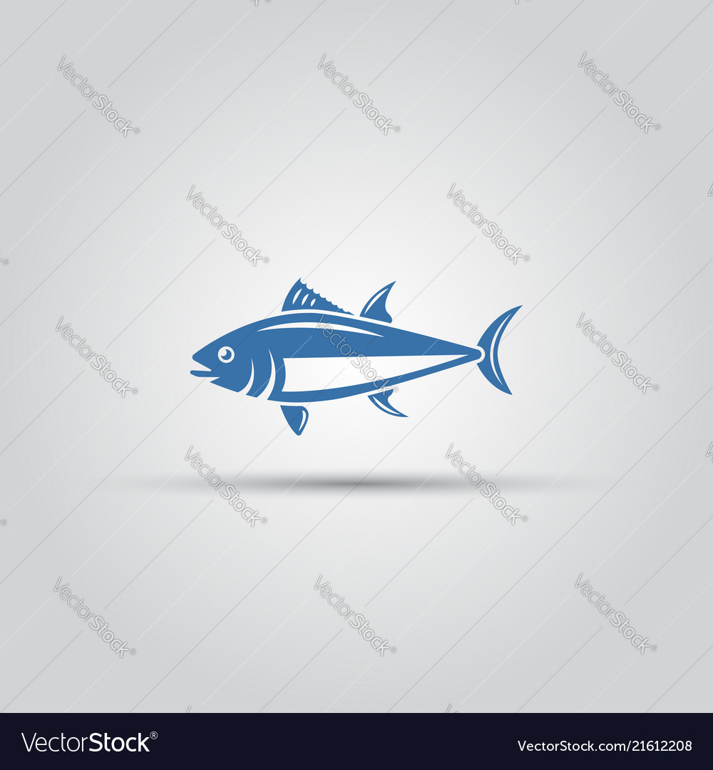 Fish icon isolated bluefin fish icon