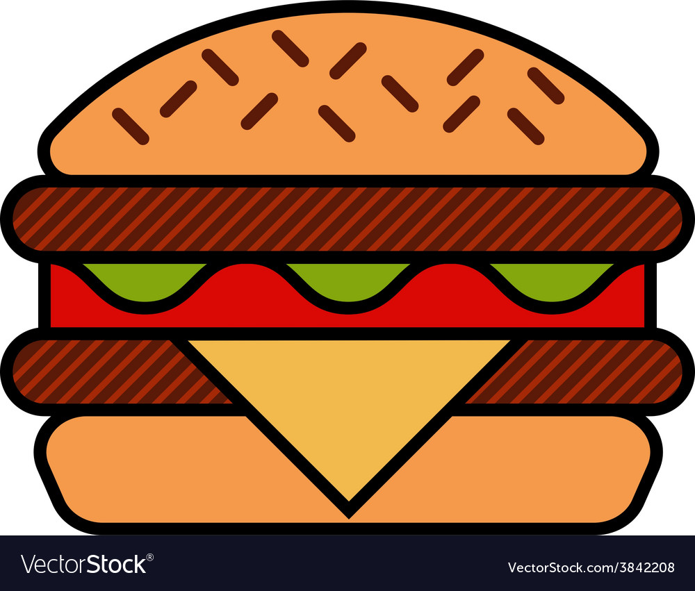 Hamburger icon with meat lettuce cheese and vector image