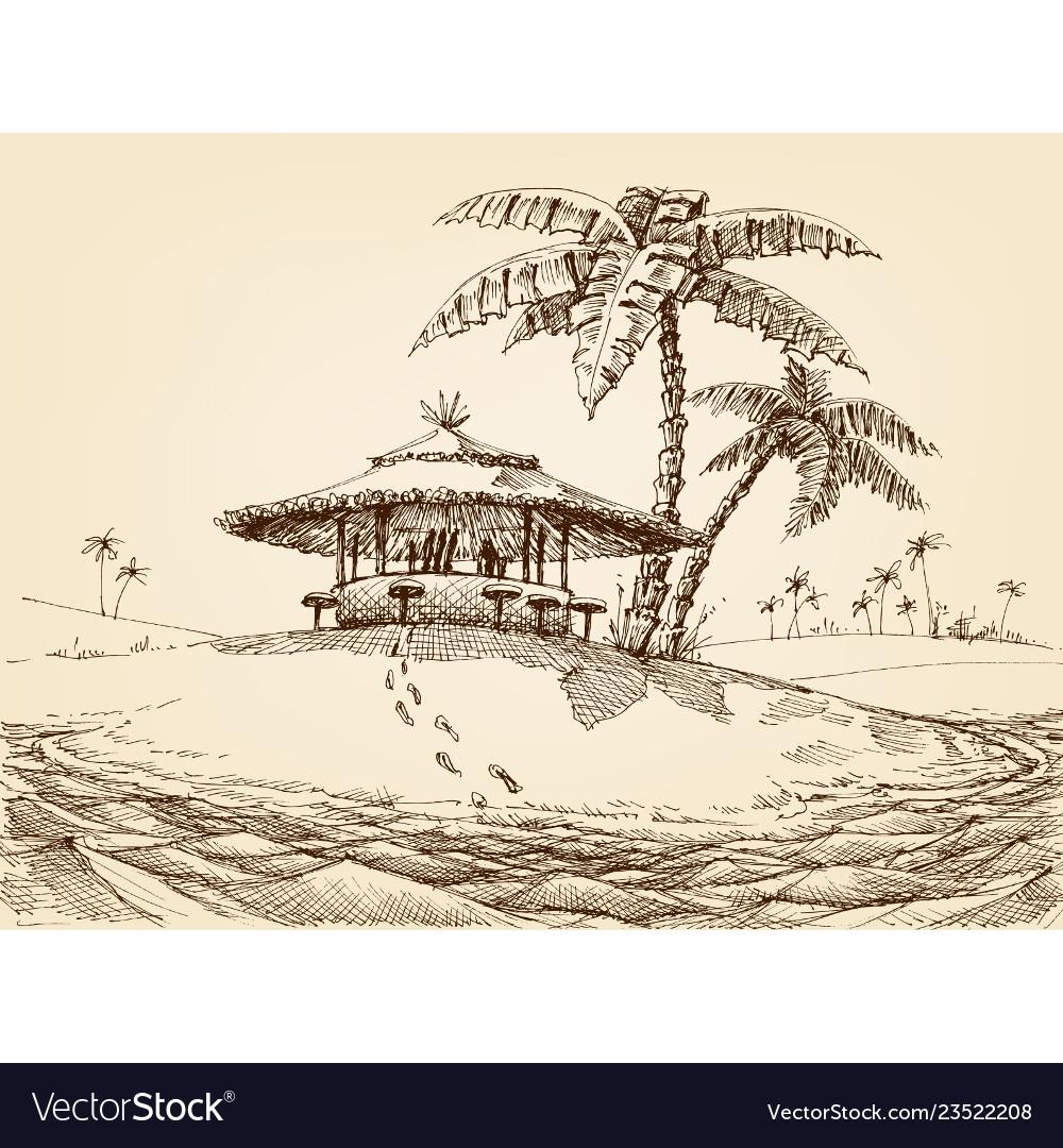 Sea shore landscape beach bar and palm trees