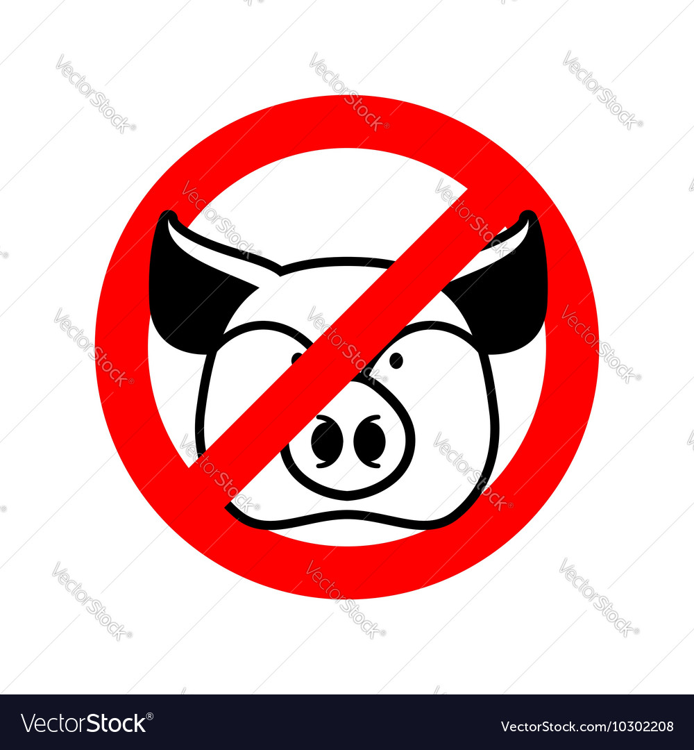 Stop pork Prohibited animal meat Crossed-out pig