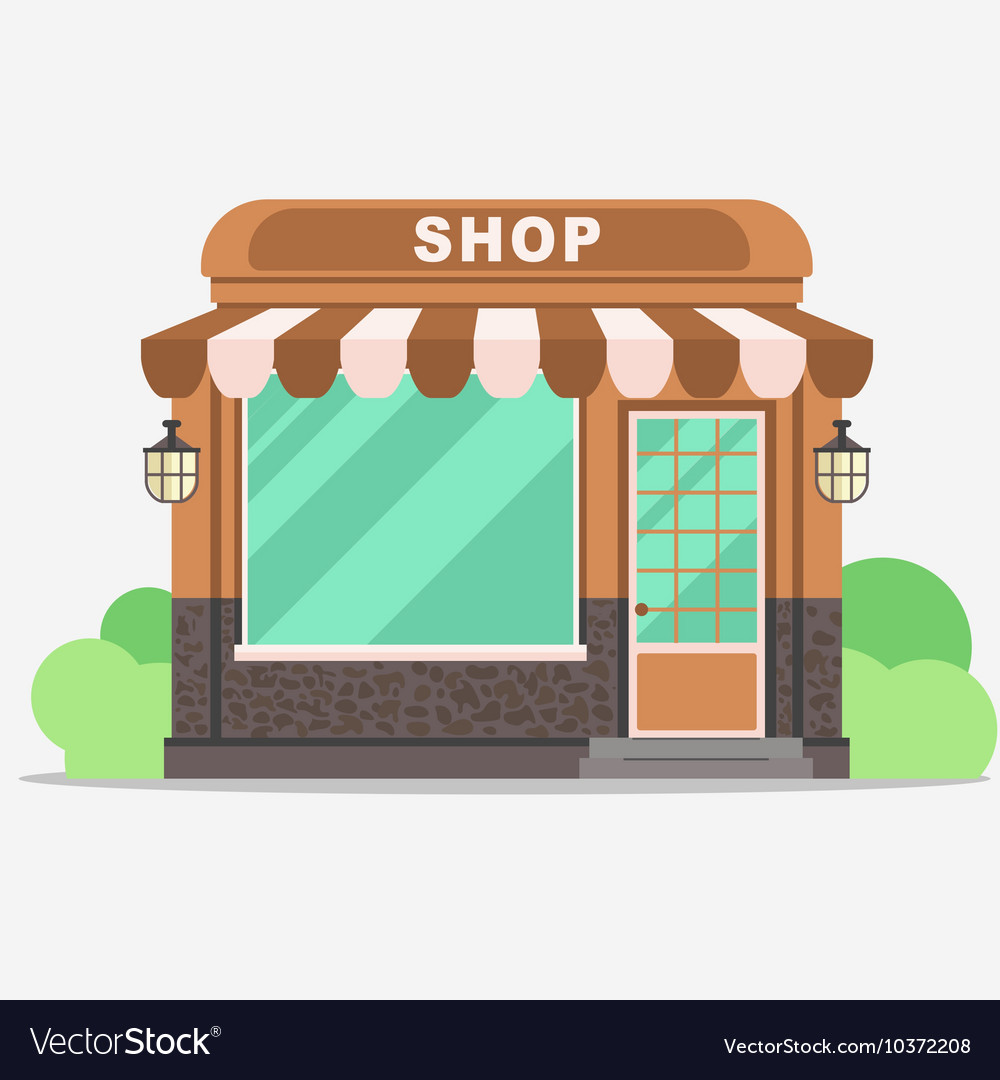 Street shop small store front Royalty Free Vector Image