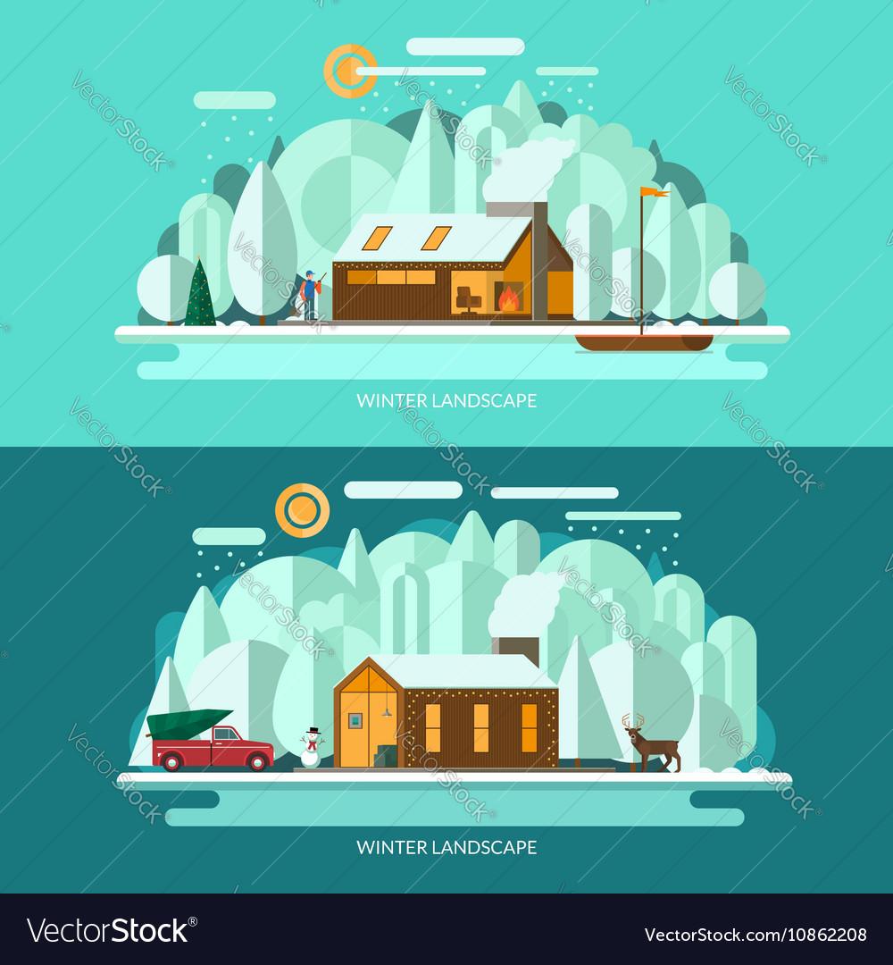 Winter landscape Flat style