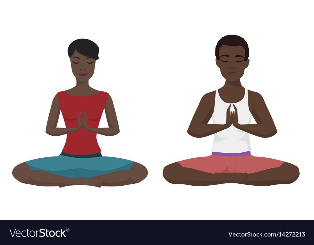 African american couple yoga