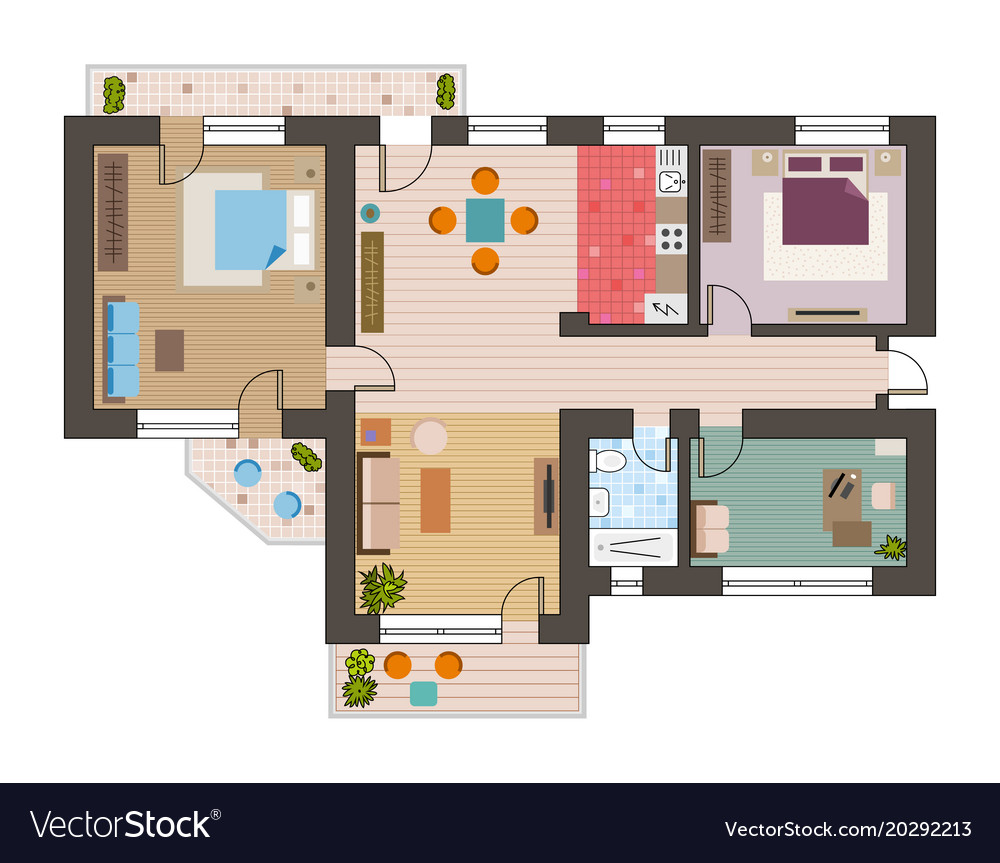 Architectural flat plan top view with living rooms