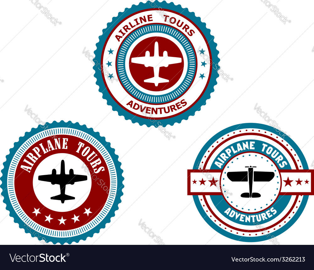 Circular badges for airplane tours vector image
