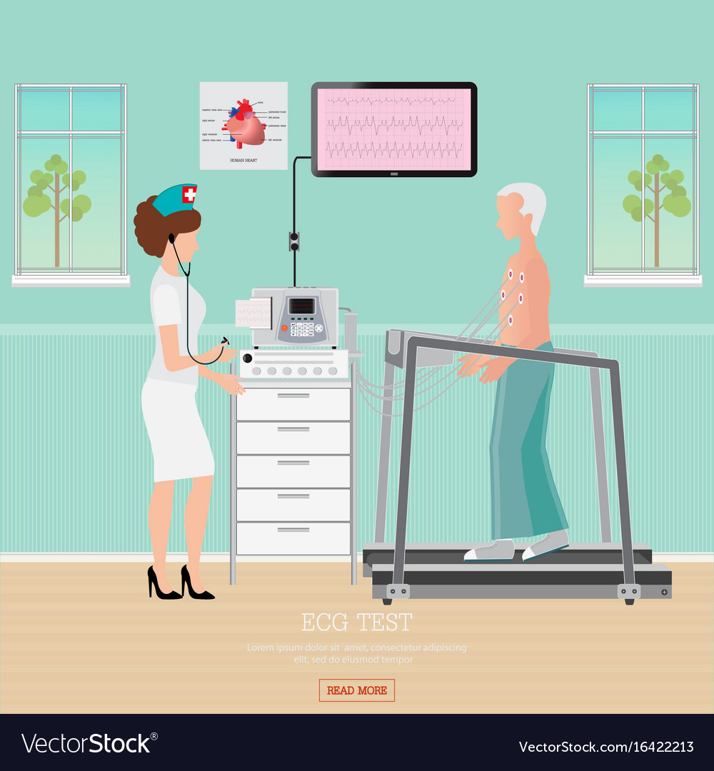 Stress Test What Is It: Ecg Test Or Exercise Stress Test For Heart Vector Image