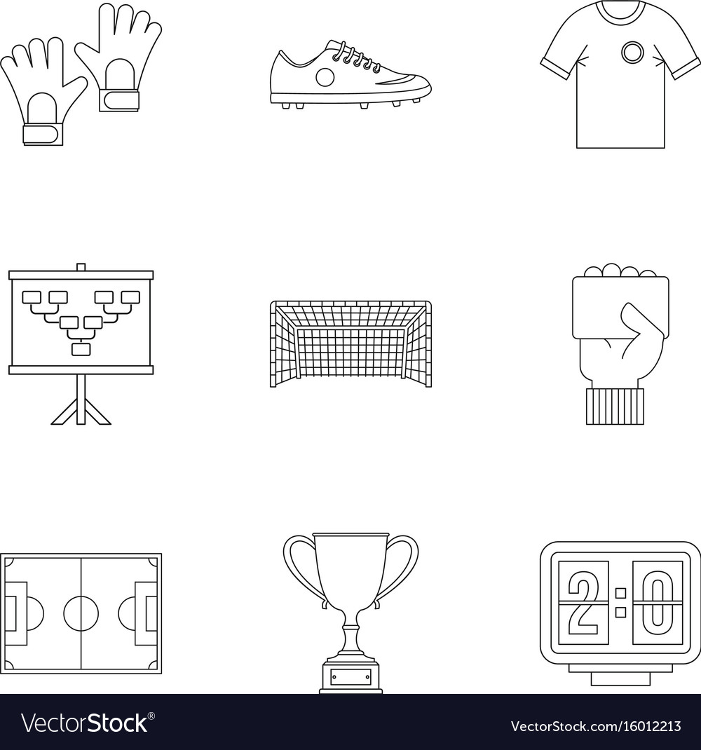 Football icons set outline style vector image