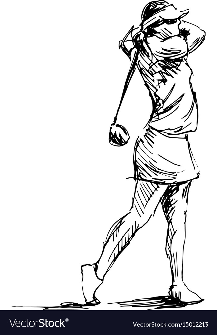 Hand sketch woman playing golf