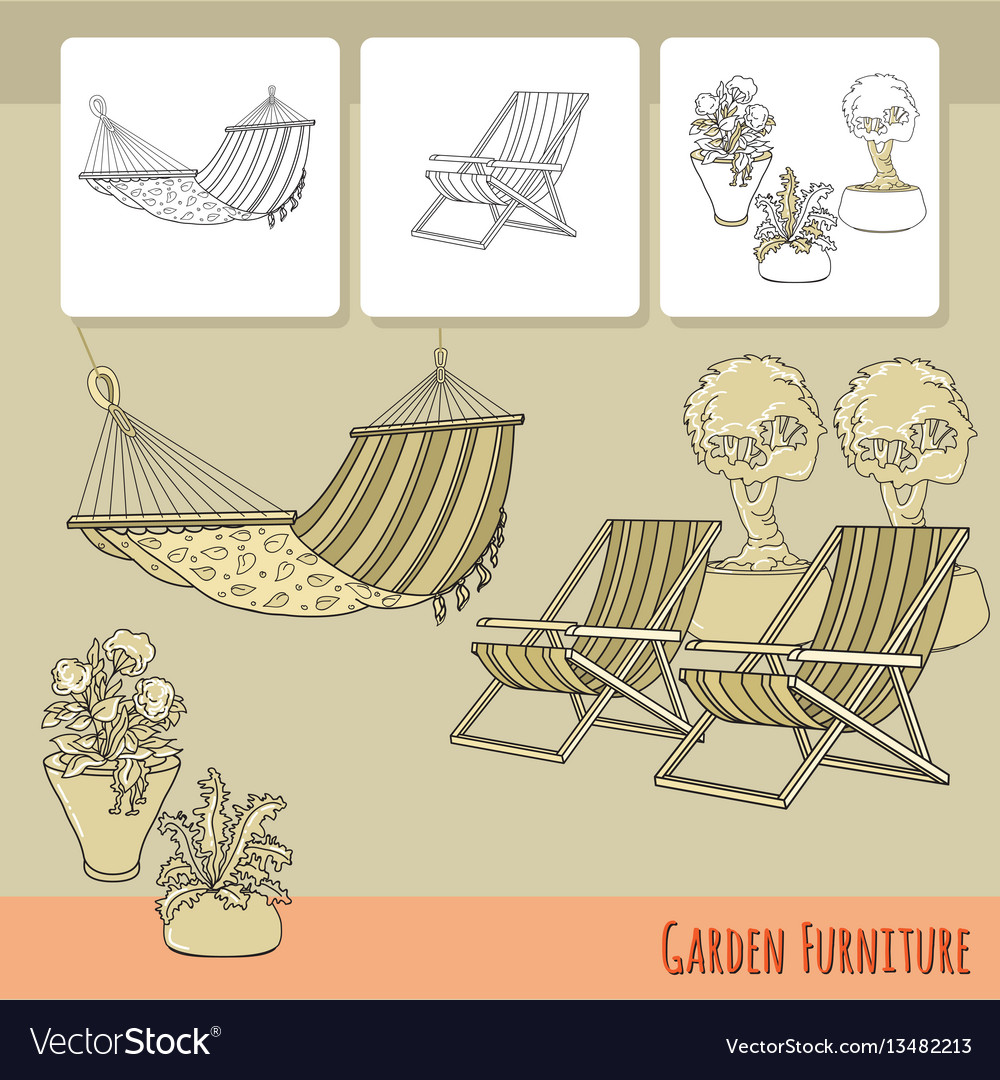 Lounge chairs hammock and flowers in pot vector image