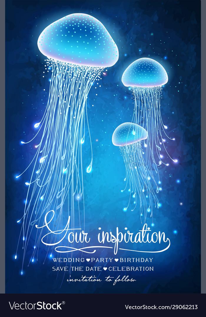 Magic glowing jellyfish underwater undersea world