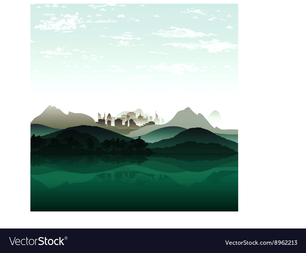 Nature lake on background of city and the mountain vector image
