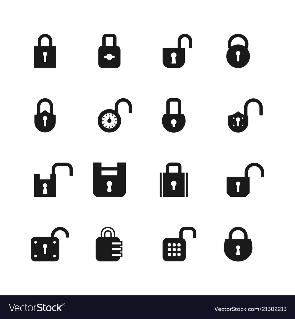 Open and closed padlock icons lock security and