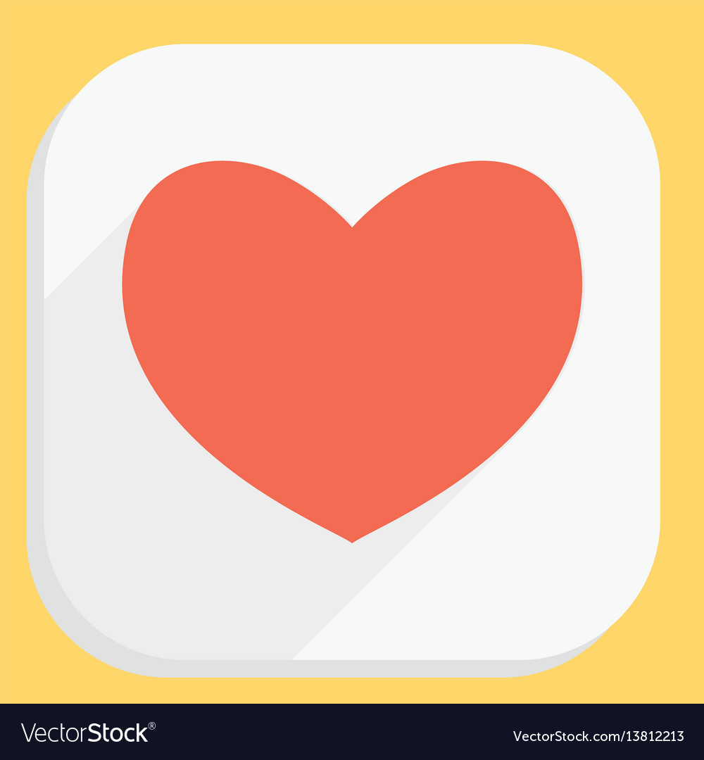 Red heart icon with long shadow modern simple vector image