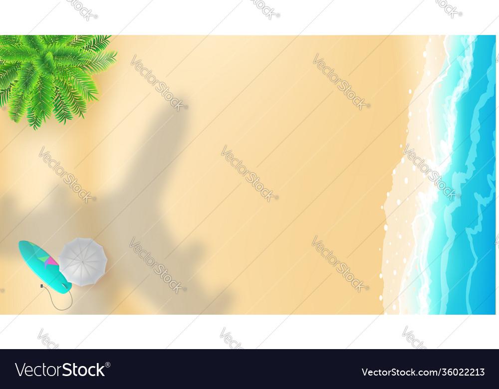 Sea shore and shadow plane over beach