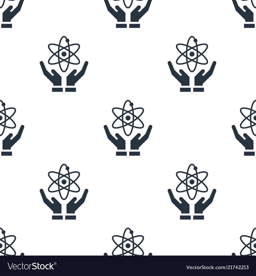 Seamless atom on hand pattern education symbol