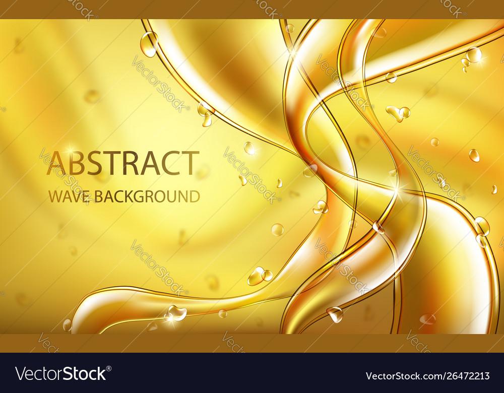 Yellow golden flowing liquid abstract