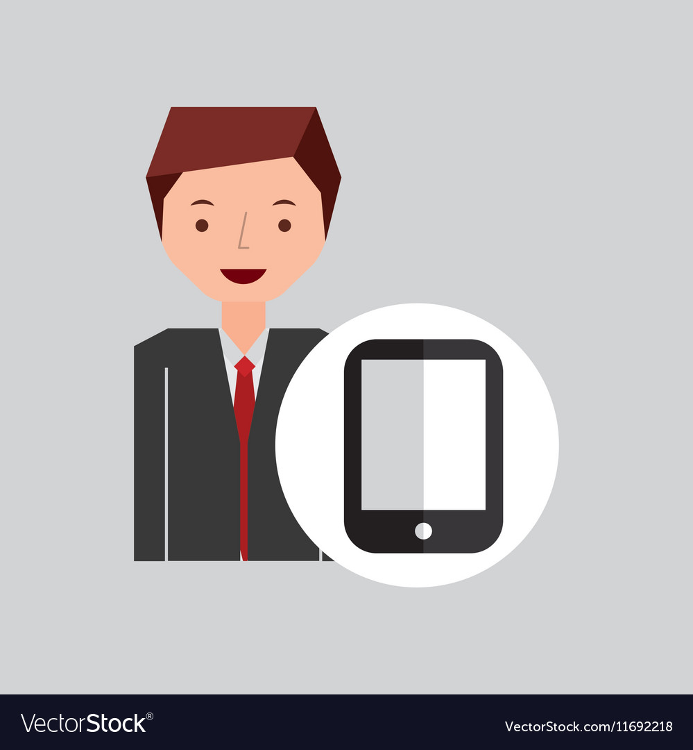 Character businessman with smartphone vector image