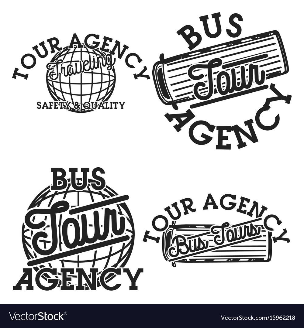 Color vintage tour agency emblems
