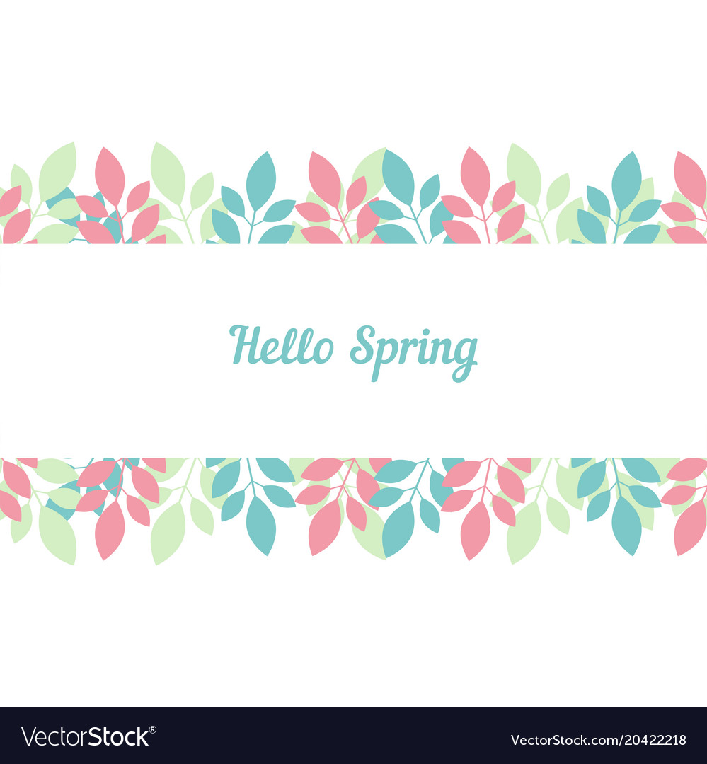 Greeting Cards Hello Spring On Light Background Vector Image
