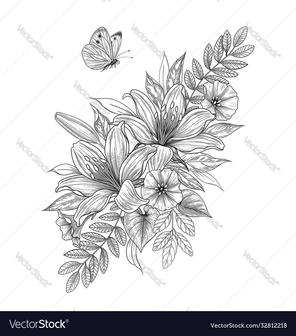 Hand drawn lily flowers and flying butterfly