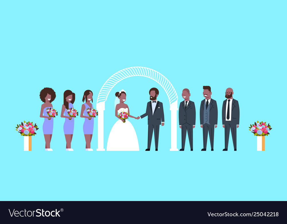 Just married bride and groom with african american