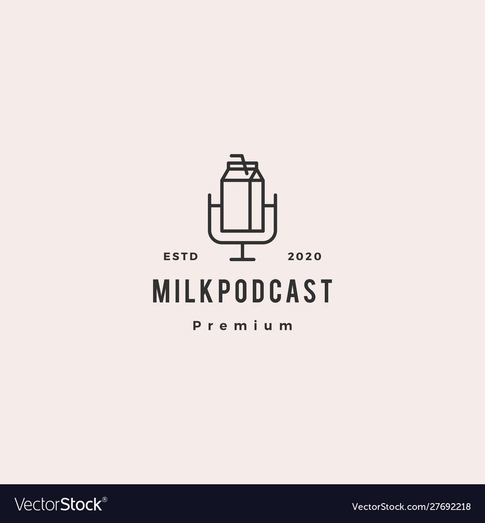 Milk podcast logo hipster retro vintage icon