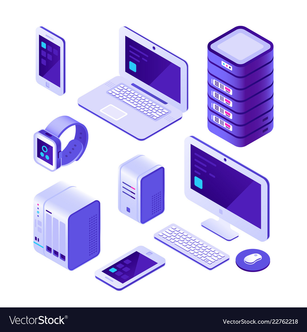Mobile devices isometric set computer server and