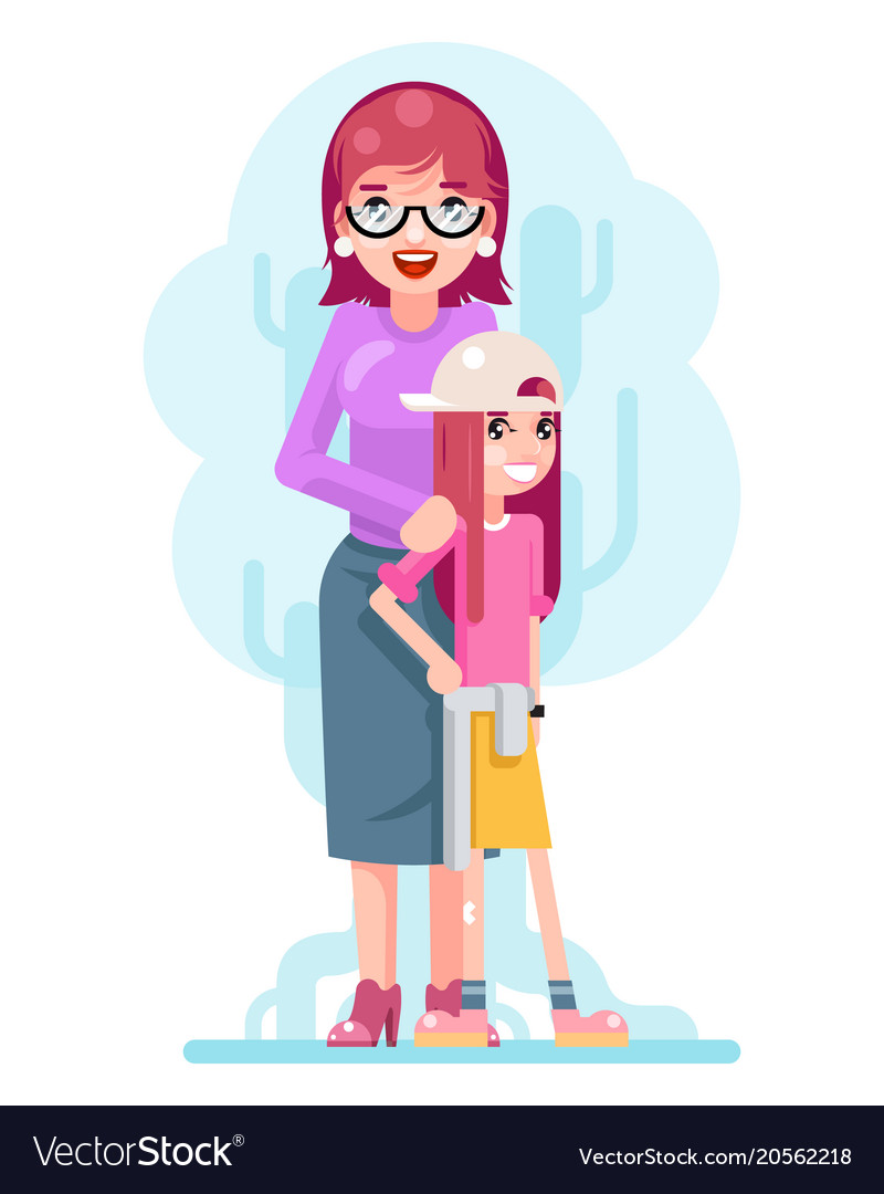 Mother daughter family concept cute happy flat vector image