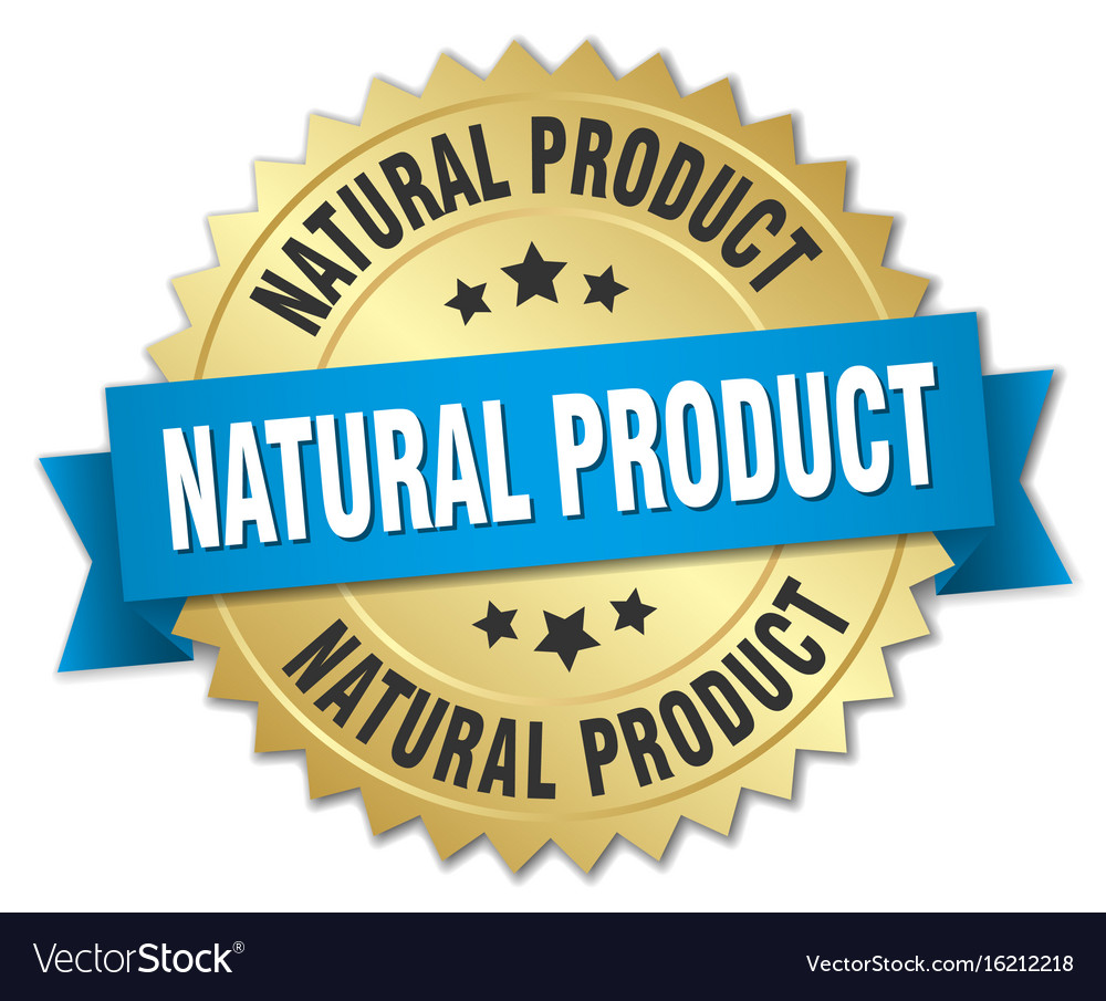 Natural product 3d gold badge with blue ribbon vector image
