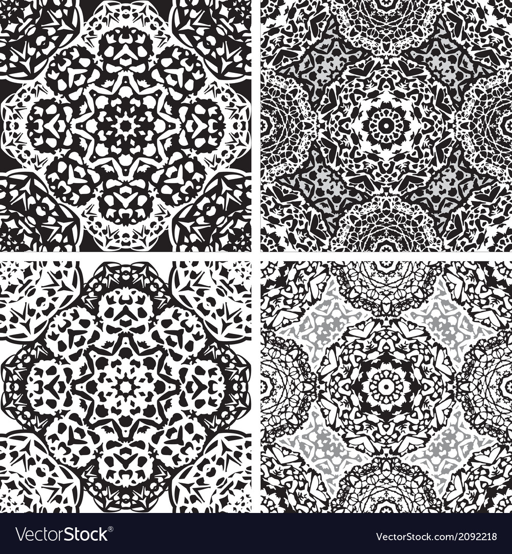 Set of squared backgrounds - ornamental seamless